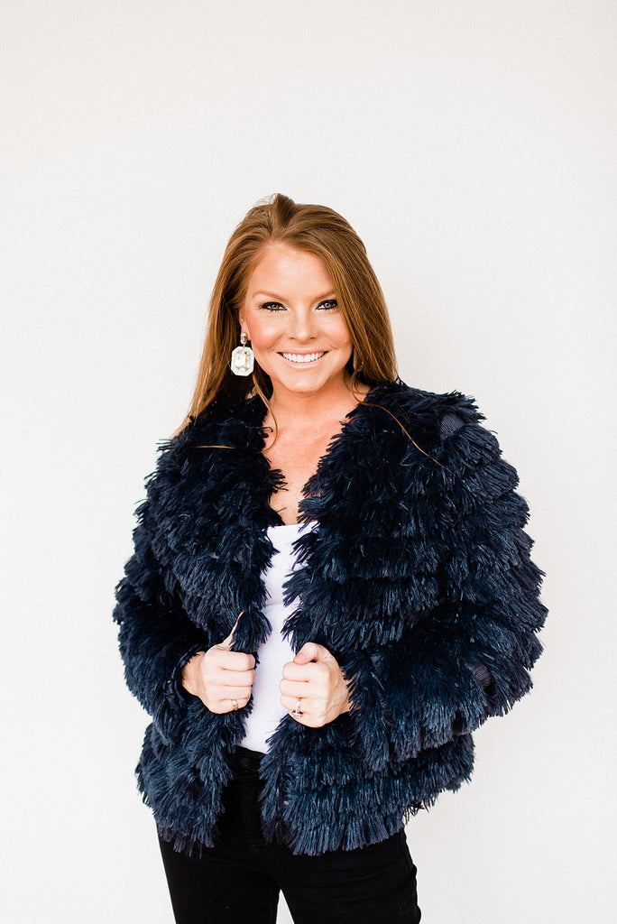 Shaggy Navy Faux Fur Jacket