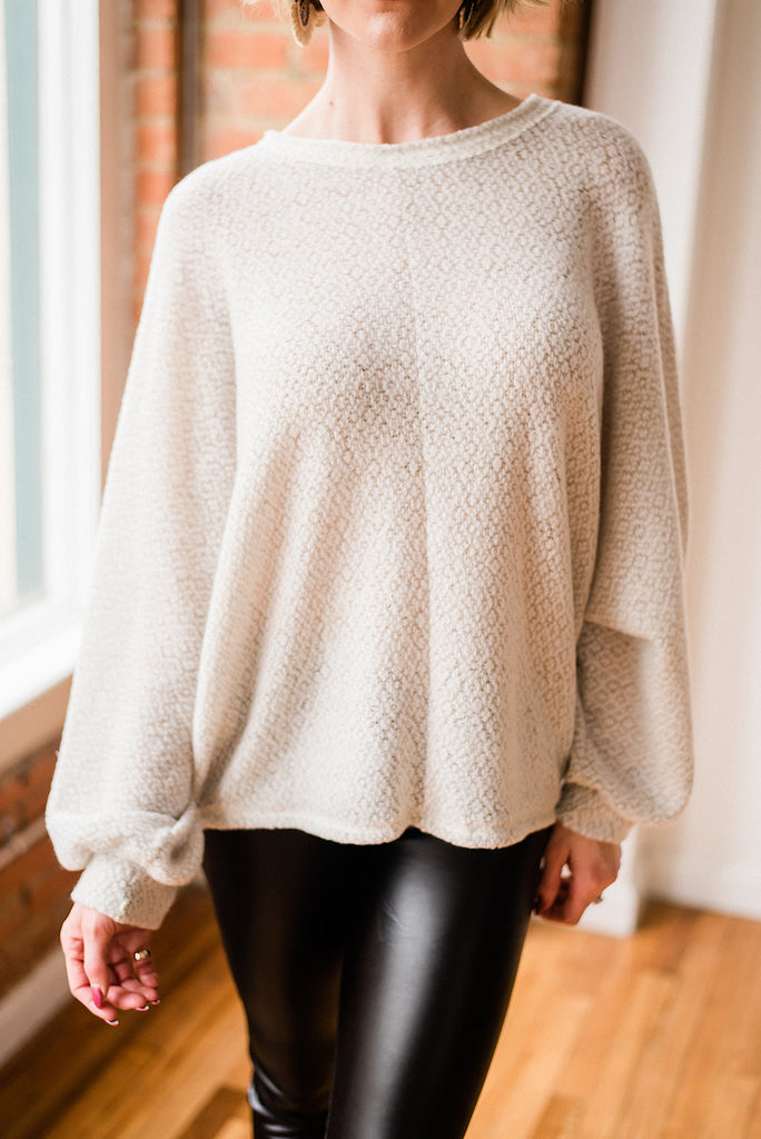 Dolman Sleeve Cropped Pullover
