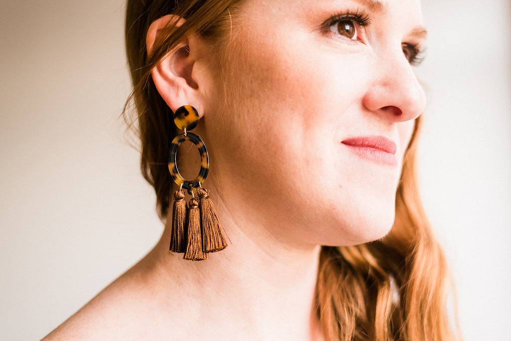 Large Three Tassel Earrings
