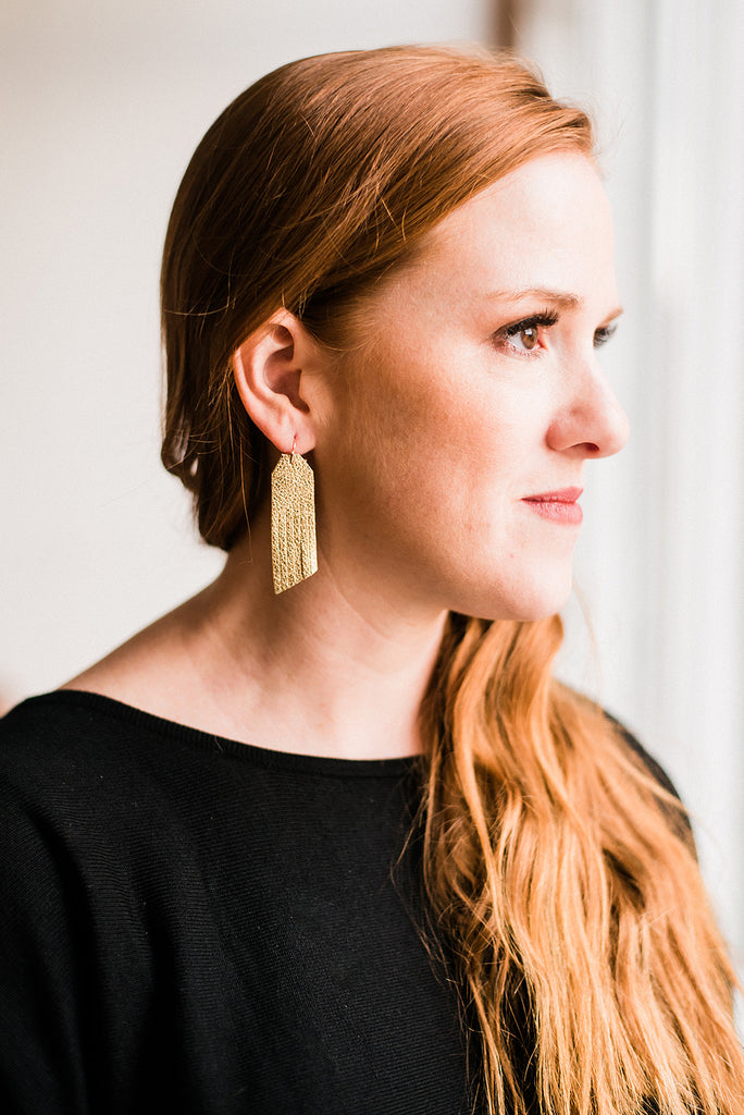 Gold Simple Fringe Earrings