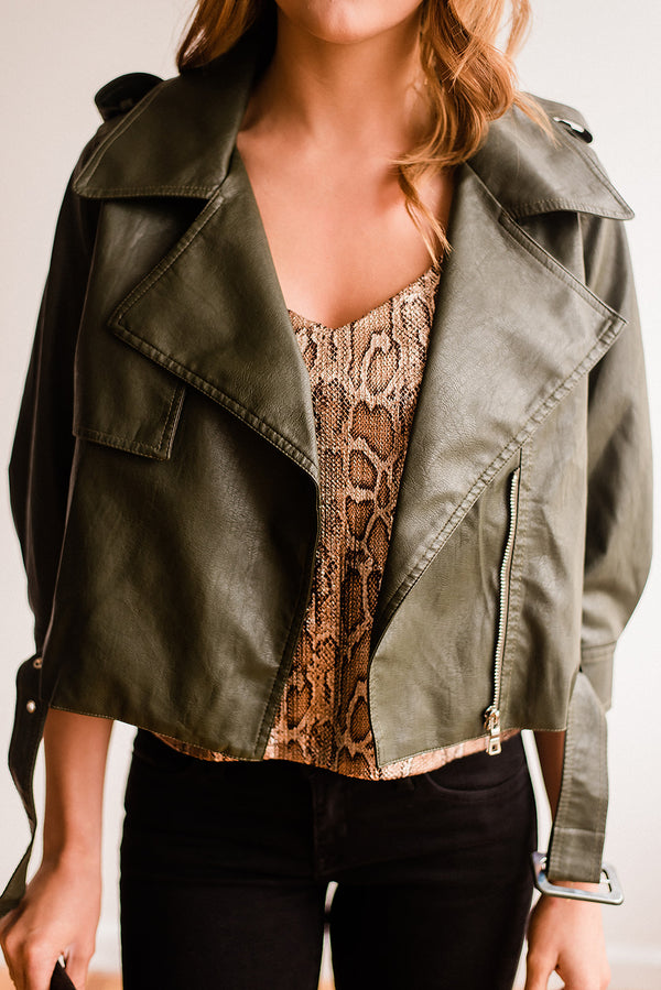 Olive Vegan Leather Jacket
