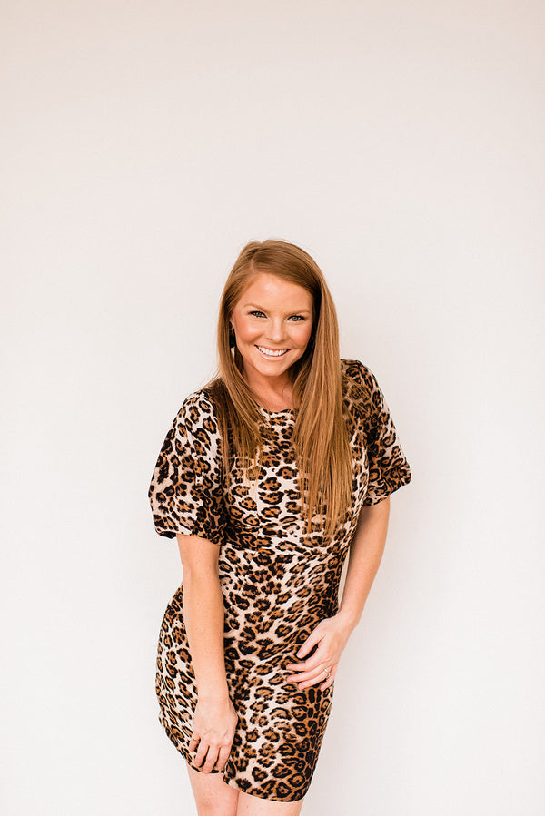 Puff Sleeve Leopard Mini dress