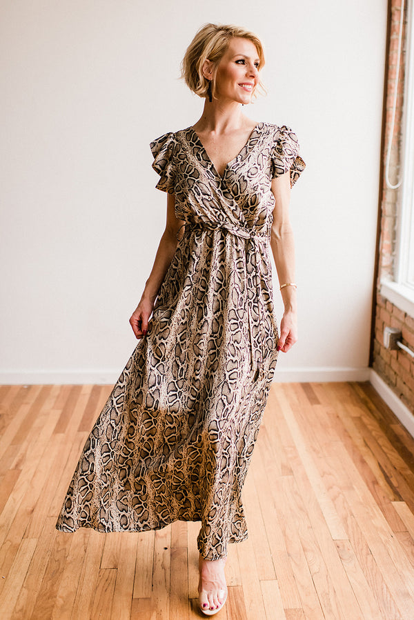 Satin Crepe Snake Print Maxi Dress