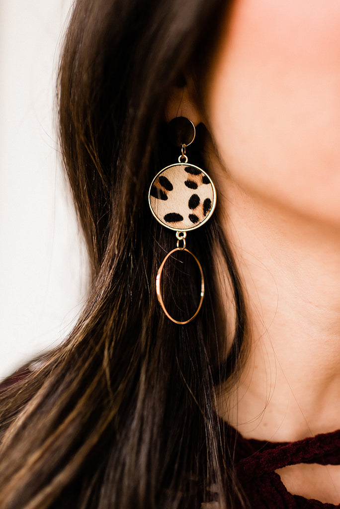 Three Tier Circular Leopard Earrings