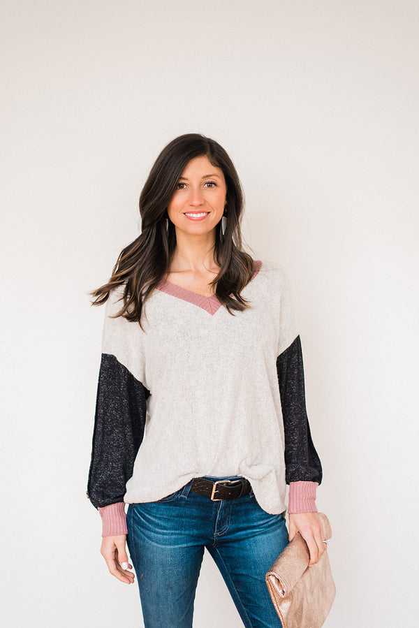 Cozy V Neck Top with Button Down Sleeves