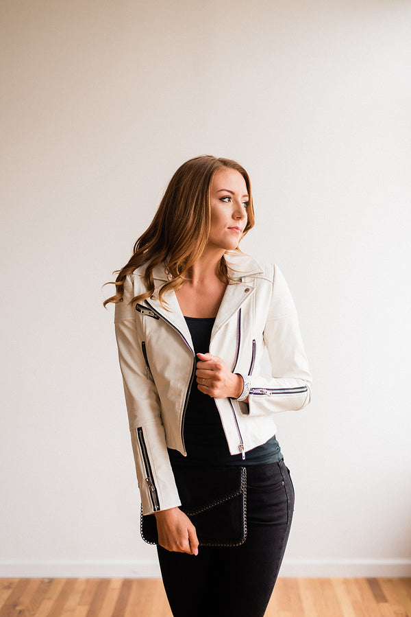 Glamour White Leather Jacket