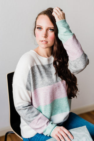 Ivory Color Blocked Sweater