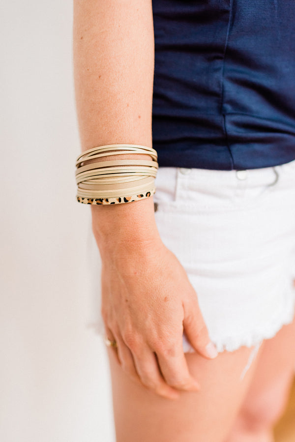 Layered Neutral Leopard Bracelet