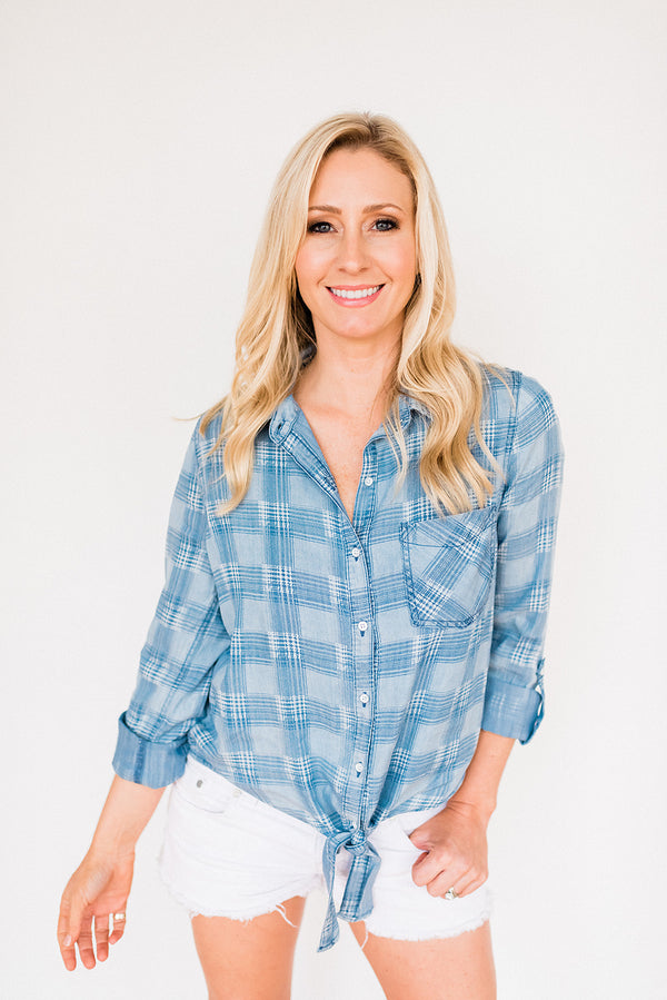 Denim Checkered Front Tie Top