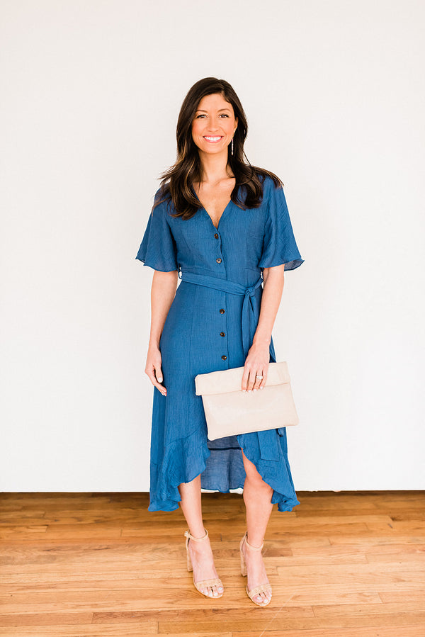 Easy Breezy Blue Button Up Dress