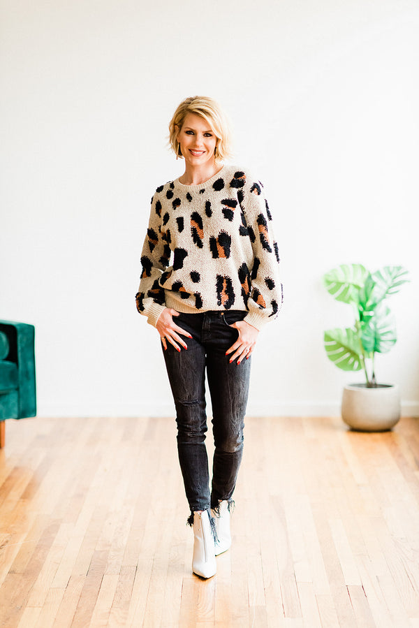 Textured Leopard Sweater