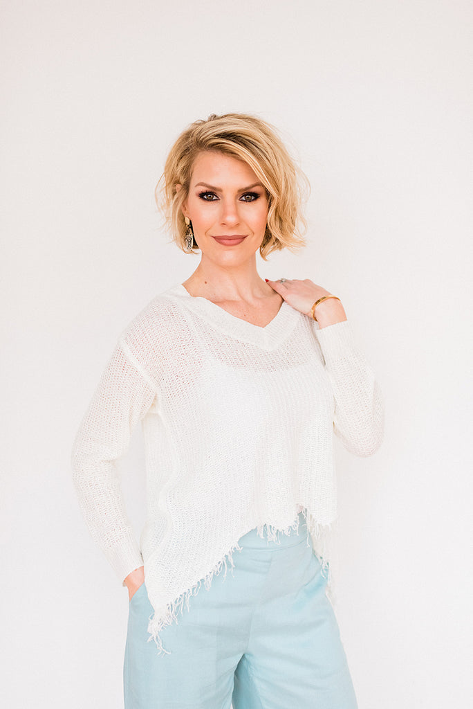 Lightweight Distressed V Neck Sweater
