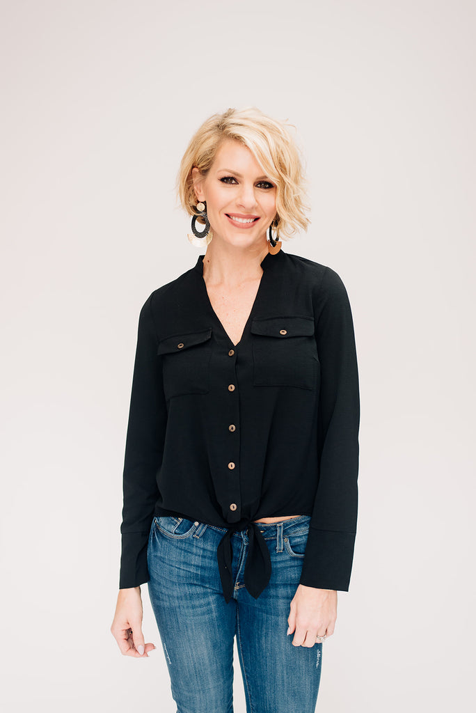 Black Button Down Tie Front Blouse