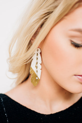 White Fringe Feather Earrings with Pearl Chain & Gold Dip