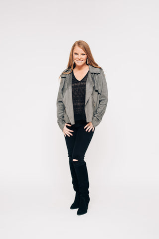 Charcoal Faux Suede Moto Jacket