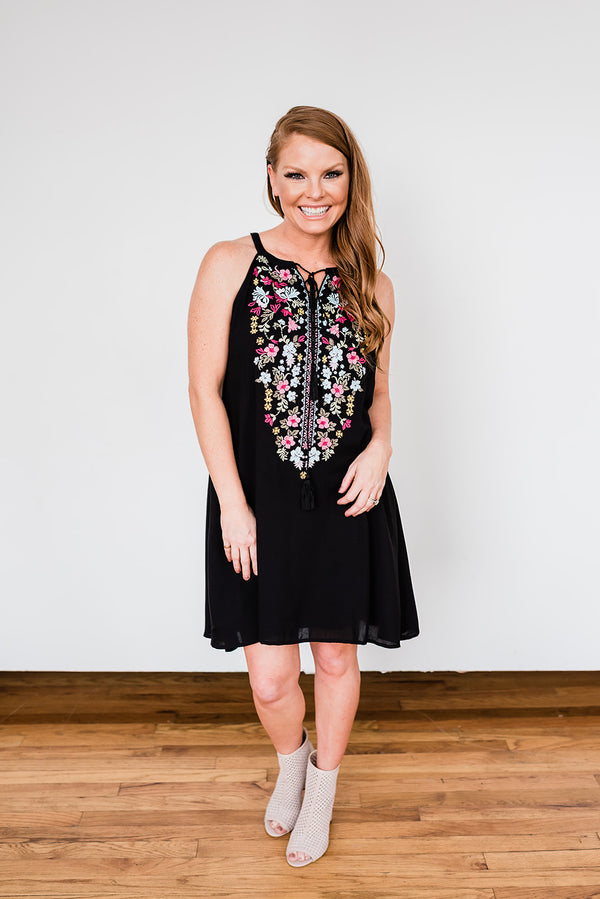 Embroidered Black Sleeveless Dress