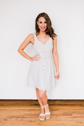 Baby Blue & White Stripe Vacay Dress