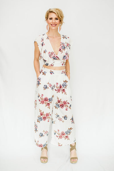 Linen Flower Printed Wrap Top & Pants