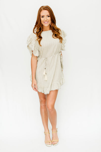 Ivory/Grey Striped Cover up with Fringe