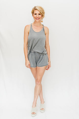 Ash Blue Vintage Lounge Tank & Shorts Set