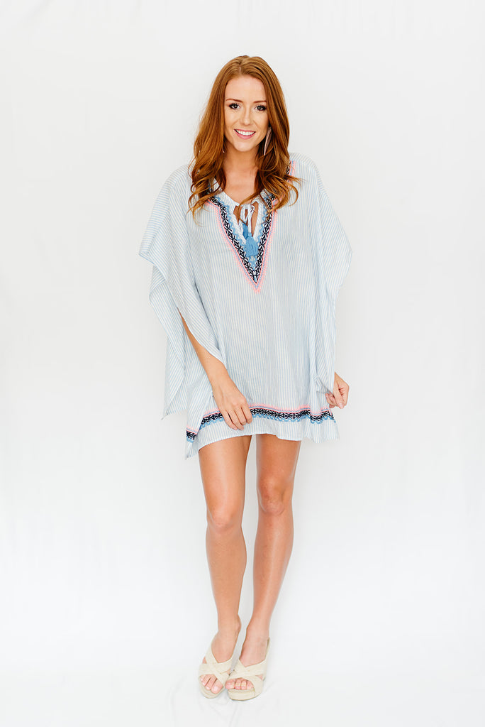 Grey Striped & Bright Embroidered Cover-Up