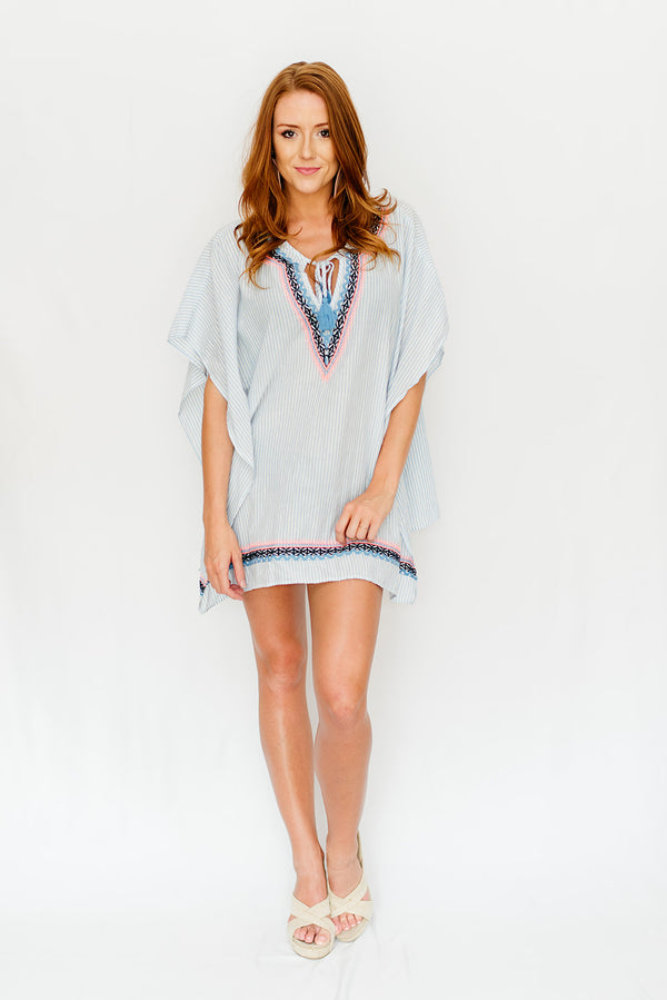 bd18ae78a13d Grey Striped   Bright Embroidered Cover-Up