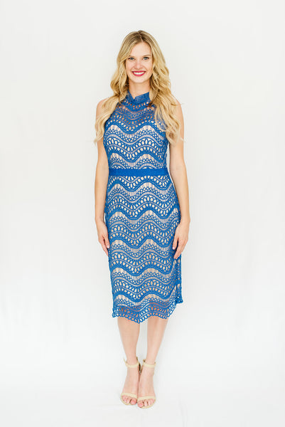 Blue Chevron Lace Open Back Dress