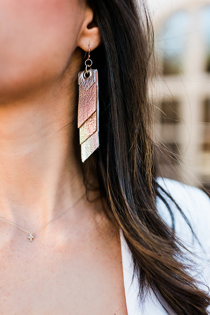 Triple Layer Fringe Earrings in Rose Gold, Glitter Gold & Silver