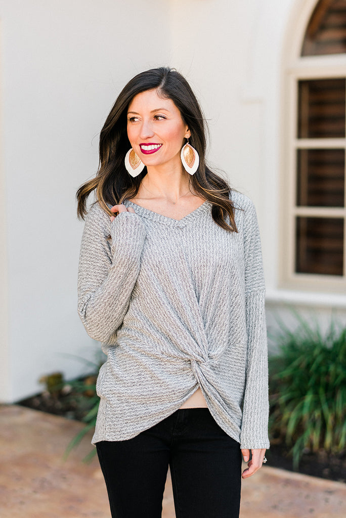 Grey Knit Twist Front Tie Long Sleeve Top