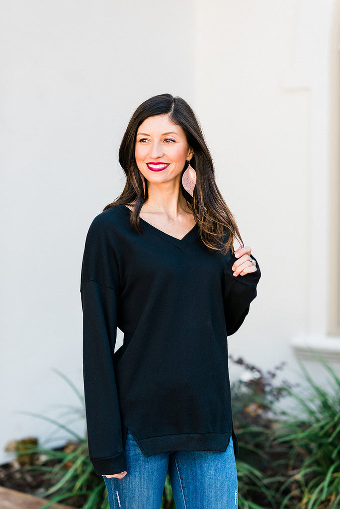 Black V-Neck Sweatshirt