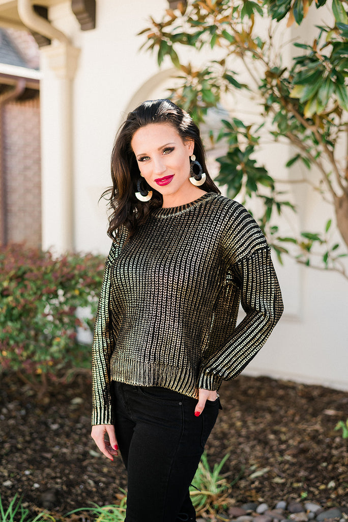 Metallic Knit Sweater Top