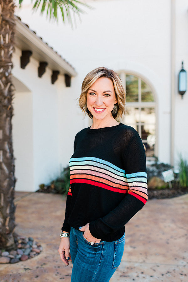 Retro Multi Stripe Sweater Top