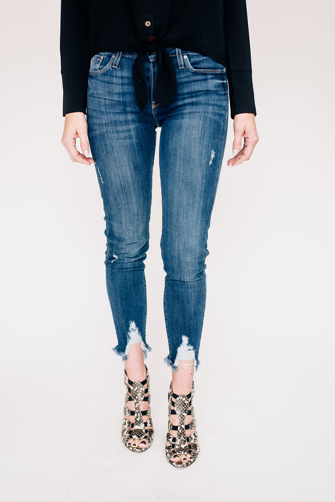 Medium Denim Skinny with Hem Destruction