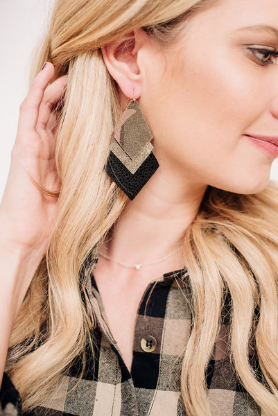 Triple Layer Diamond Camo Earrings