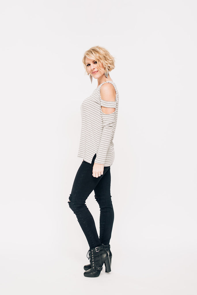 Heather Grey & White Stripe Long Sleeve Top