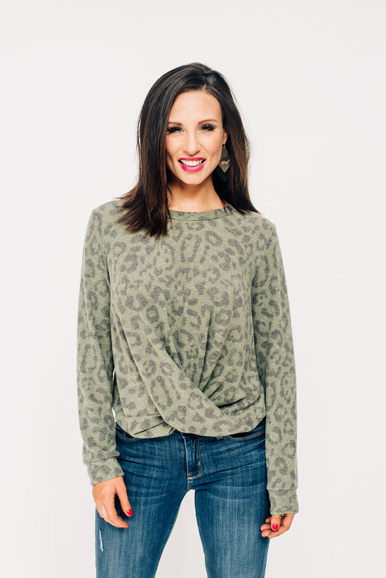 54337496a409 Leopard Twisted Front Top - Olive