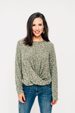 Leopard Twisted Front Top - Olive