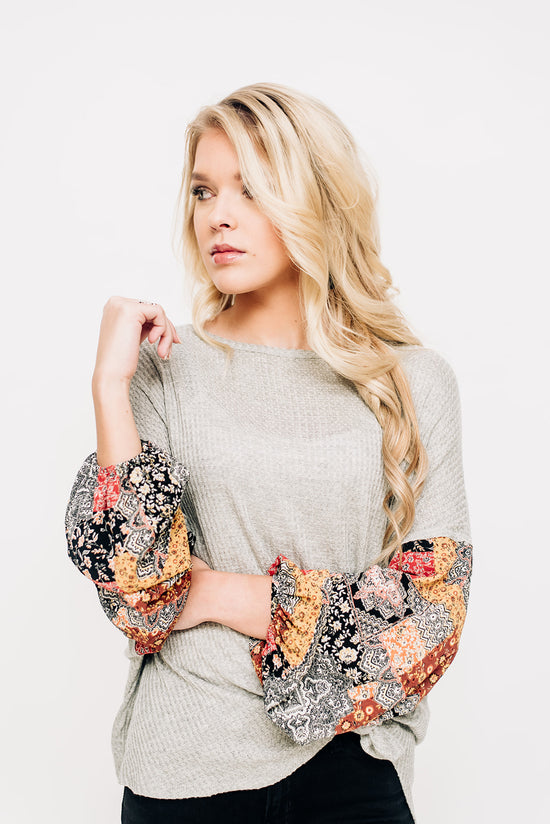 6e111e25f208 Heather Grey Top with Print Sleeves