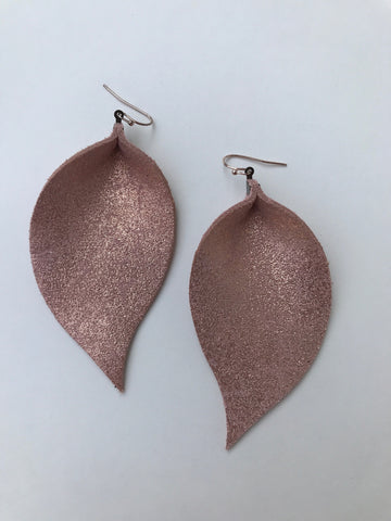 Sparkly Rose Gold Leaf Earrings