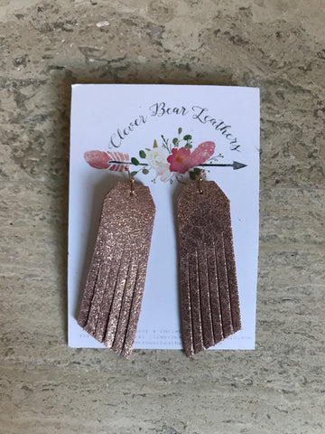 Sparkly Rosegold Simple Fringe Earrings