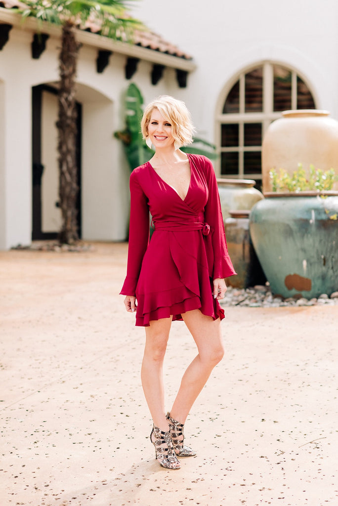 Cranberry Ruffle Mini Dress