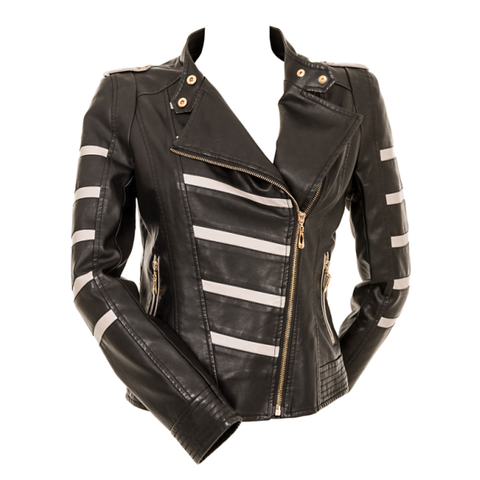 Striped Leather Look Biker Jacket