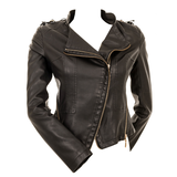 Midnight Leather Look Biker Jacket