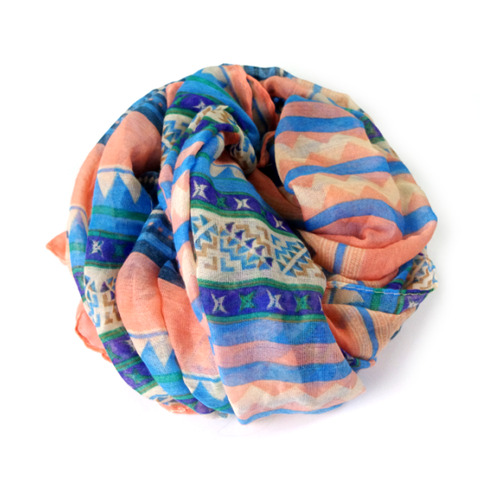Peach Candy Multi Print Scarf