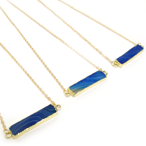 Blue Vein Bar Necklace