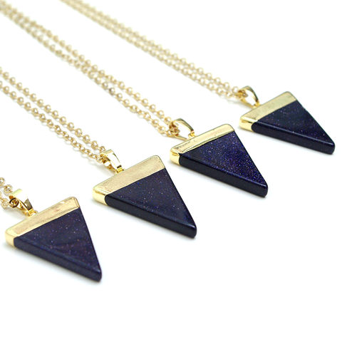 Blue Sand Triangle Necklace