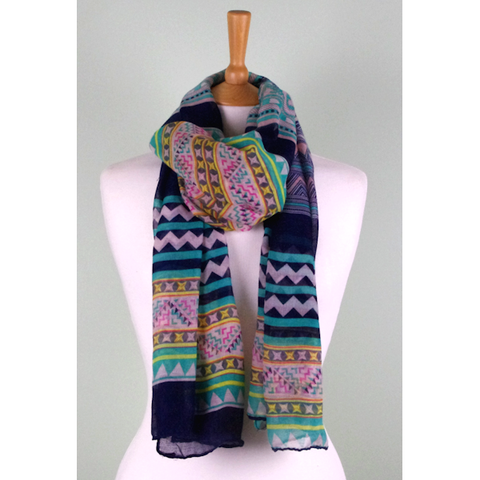 Green Multi Print Scarf