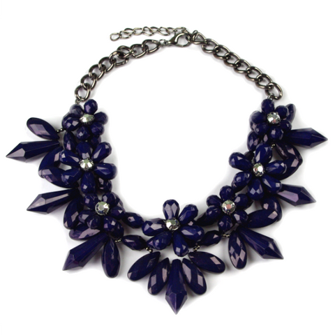Navy Flower Necklace
