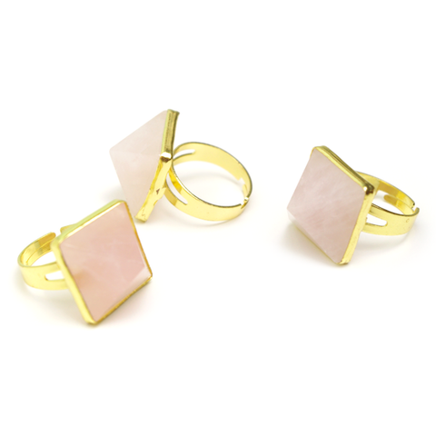 Rose Quartz Pyramid Ring