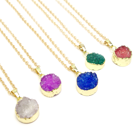 Round Druzy Geode Necklace